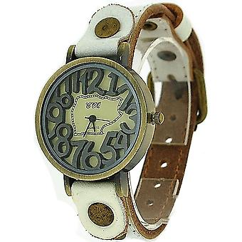 TOC Unisex Oxidised Metal Dancing Numbers White Strap Watch SW-775