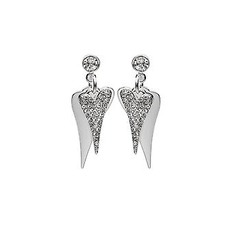 Miss Dee Silver Plated Double Heart Crystal Drop Earrings