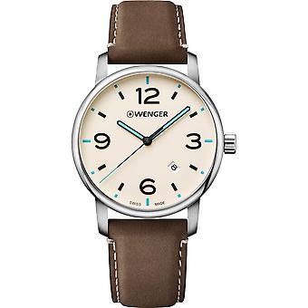 Wenger Urban Metropolitan Quartz Cream Dial Brown Leather Strap Mens Watch 01.1741.118