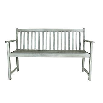 Charles Bentley FSC Acacia White Washed Wooden Garden Patio Outdoor 2 Seater Bench 14kg Max User: 160kg