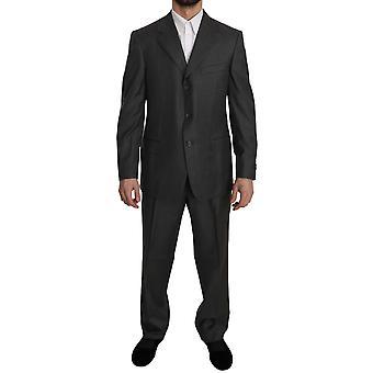 Ermenegildo Zegna Gray Solid 2 Piece 3 Button Wool Gray Suit -- KOS1984496