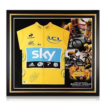 Bradley Wiggins Allekirjoitettu Tour De France 2012 Keltainen Jersey Premium Frame