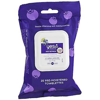 Yes to blueberries age refresh cleansing facial wipes, 25 ea