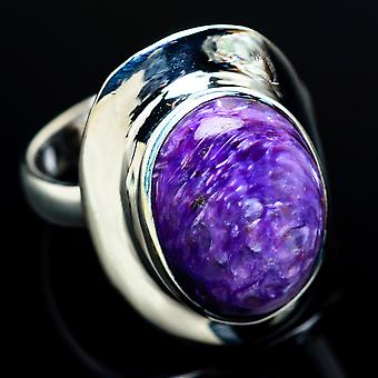 Charoite Ring Size 8.25 (925 Sterling Silver)  - Handmade Boho Vintage Jewelry RING7649