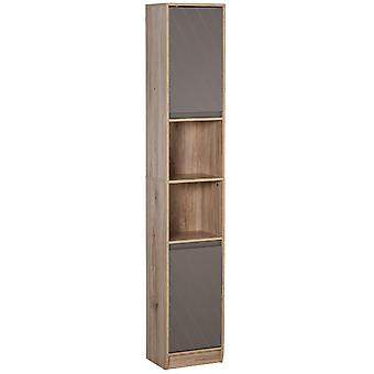 HOMCOM Freestanding Bathroom Storage Cabinet w/ 2 Cupboards 2 Compartments Home Organisation Anti-Tipping Elevated Base 30L x 24W x 170H cm Grey&Brown