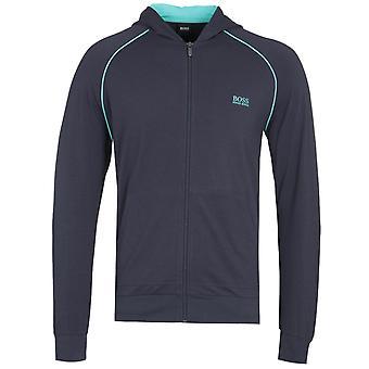 BOSS Mix&Match Navy en turquoise detail zip-through hoodie