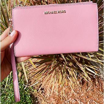 Michael kors jet asettaa suuri kaksinkertainen zip ranne lompakko carnation vaaleanpunainen saffiano