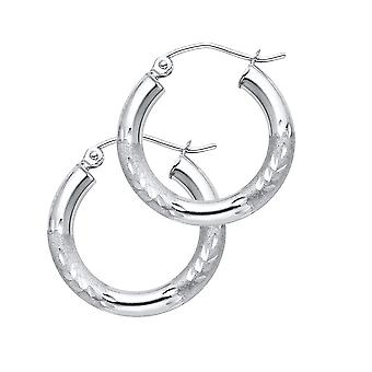 14k White Gold 3mm Budded Sparkle Cut Hoop Earrings Jewelry Gifts for Women - 1.2 Grams