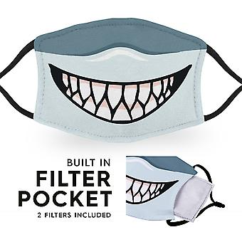Shark Mouth - Uudelleenkäytettävä aikuisten kangas kasvonaamiot - 2 suodattimet mukana