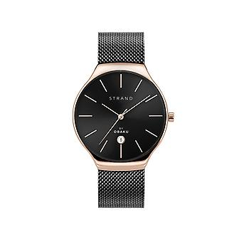 Strand By Obaku S701GDVBMB Caspian-Night Black Dial Wristwatch
