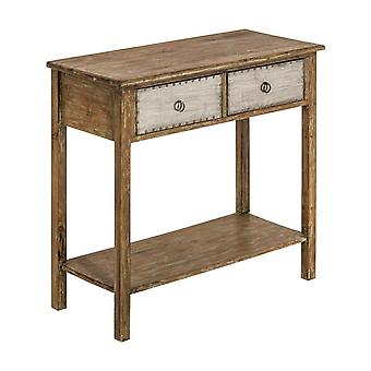 Premier Housewares Shoreditch 2 Drawer MDF Fir Wood Legs Console Tavolo 90cm