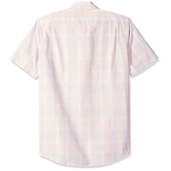 Essentials Men's Slim-Fit Cu mânecă scurtă Plaid Casual Poplin Shirt, Roz...