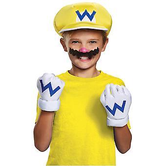 Wario Super Mario Deluxe Video Game Boys Costume Hat Gloves Moustache Kit