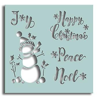 Polkadoodles Snowman Sentiments 6x6 Inch Stencil