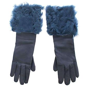 Dolce & Gabbana Blue Lambskin Leather Fur Logo Wrist Gloves -- MOM1670917