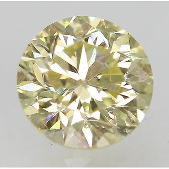 Cert 0.73 カラット ファンシー イエロー VS2 ラウンド ブリリアント エンハンスナチュラル ダイヤモンド 5.35mm
