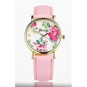 Pink Women's Watch from Geneva flower swarovski crystal leather