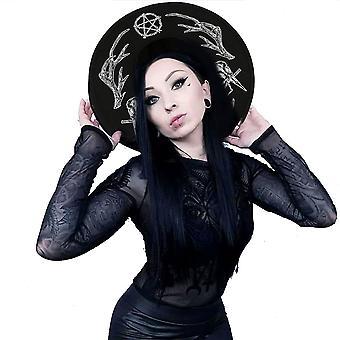 Restyle - heidens ritueel - brede rand hoed - heidense, heksenmode accessoire