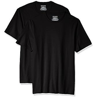 Essentials Men's 2-Pack Slim-Fit Short-Sleeve Crewneck T-Shirt, Black, Medium
