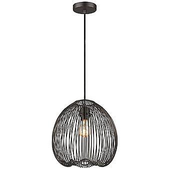 1 Light Wire Ceiling Pendant Matt Black, E27
