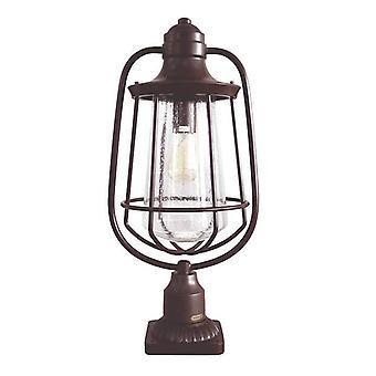 1 Light Outdoor Pedestal Light Bronze IP44, E27