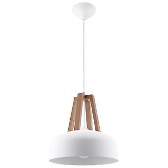 Sollux CASCO - 1 Licht Kuppel Deckenanhänger weiß, Naturholz, E27