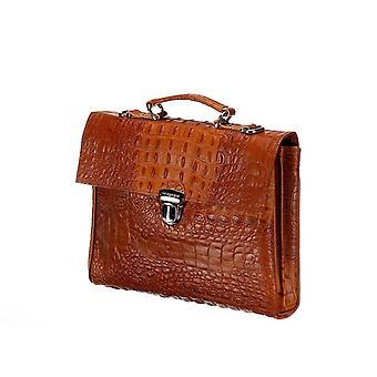 Leather Laptop Bag - The Walker - Cognac Croco