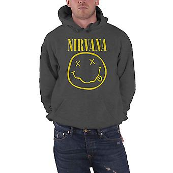 Nirvana Hoodie Yellow Smiley Band Logo new Official Mens Charcoal Grey Pullover