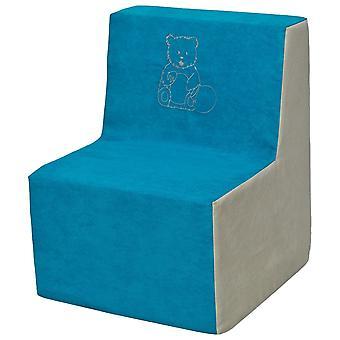 Kinderstoel schuim blauw & beige