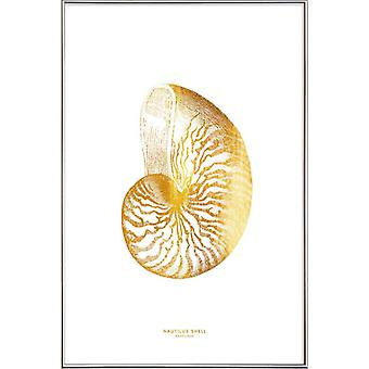 JUNIQE Print - Gold Nautilus Shell - Marine Animals Poster in Goud en Wit