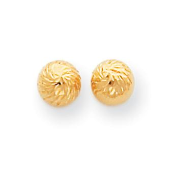 14k Yellow Gold Hollow Polished and Sparkle Cut Swirl 6mm Ball Post Earrings Measures 6x6mm Jewelry Gifts for Women