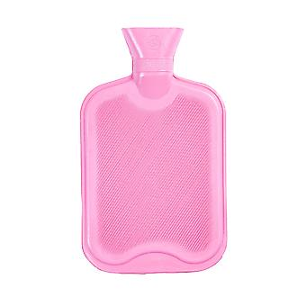Hot Water Bottle - Classic Short Ribbed Rubber Bottle with Screw Stopper - 2 Litres - Pink