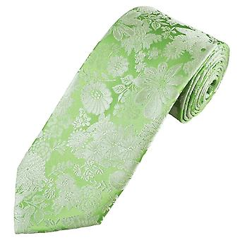 Ties Planet Gold Label Sage Green & Silver Flower Patterned Men's Silk Tie