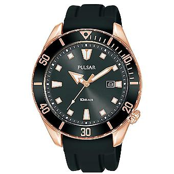 Pulsar Mens Sports Silcone Strap Rose Gold Case Divers Inpsired Case 100M Watch