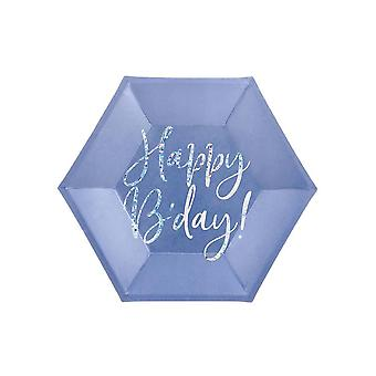 Blue Hexagon Happy B & Apos;day Paper Plates x 6 Birthday Party Taware