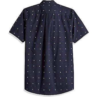 Goodthreads Men's Slim-Fit Short-Sleeve Dobby Camicia, -navy anchor, XXX-Large