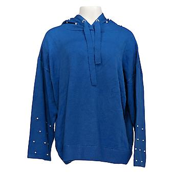Women with Control Women's Sweater Pearl Embellished Hoodie Blue A347297