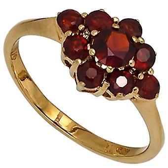 Kvinders Ring 375 Guld Gul Guld 9 Granat rød guld ring granat ring