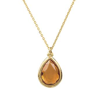 Latelita Small Mini Gemstone Pendant Necklace Gold Yellow Citrine 925 Silver