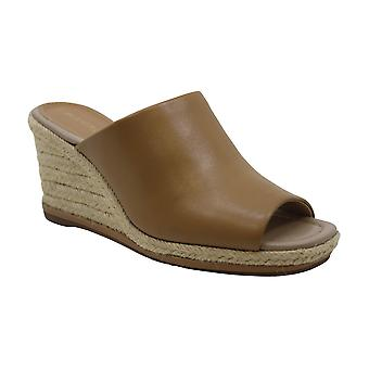 Enzo Angiolini Womens Phylicia Leather Peep Toe Casual Slide Sandals