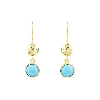 Boucles d'oreilles Blue Circle & Hammer Turquoise Gemstone Gift Yellow Gold Dangle Drop