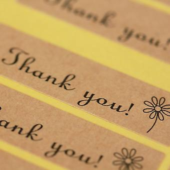 Kraft Brown 'Thank You' Mini Sticker Sheet Labels x 72 - Craft / Wedding Favours