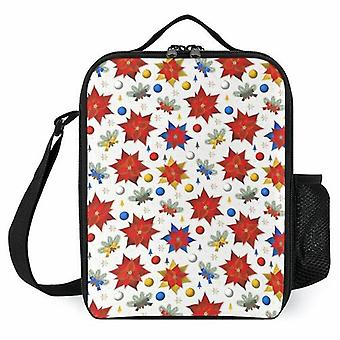 Christmas Poinsettias Printed Lunch Bags Reusable Lunch Box For School