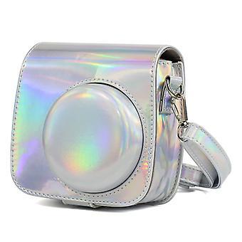 Aurora Oil Paint Full Body Camera PU Lederen tas met riem voor FUJIFILM instax mini 9 / mini 8+ / mini 8(Zilver)