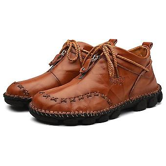 Genuine Leather Men Boots, Fashion Zipper Shoes Male, Cow Leather