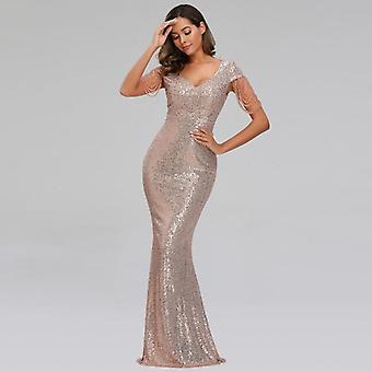 Women Long Elegant V-neck Beading Evening Party Dress