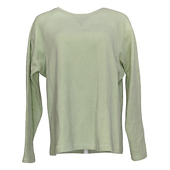 Denim & Co. Kobiety&bluza Baby Sherpa Crew Neck Green A58076