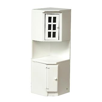 Dolls House Corner Unit Cabinet Plain White Fitted Kitchen Furniture 1:12 Scale
