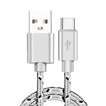 IRONGEER USB-C Charging Cable 2 Meter Braided Nylon - Tangle Resistant Charger Data Cable Gray
