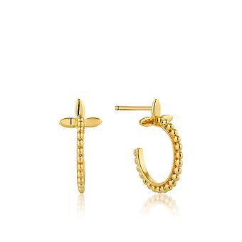 אניה Haie כסף נוצץ זהב מצופה חישוק מודרני עגילים E002-02G